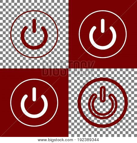 On Off switch sign. Vector. Bordo and white icons and line icons on chess board with transparent background.