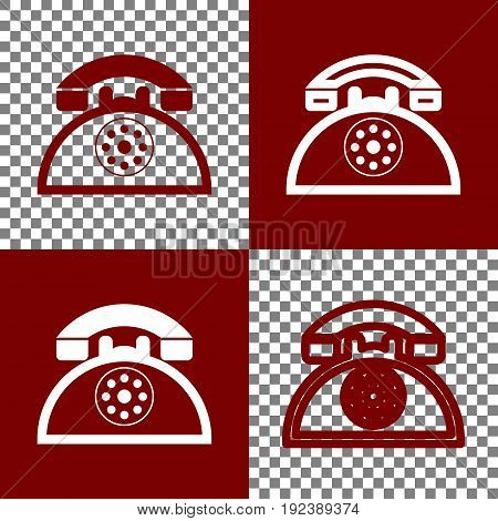 Retro telephone sign. Vector. Bordo and white icons and line icons on chess board with transparent background.
