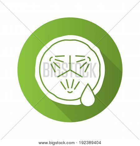 Cucumber slice with juice. Flat design long shadow glyph icon. Spa. Cucumber facial mask. Vector silhouette illustration
