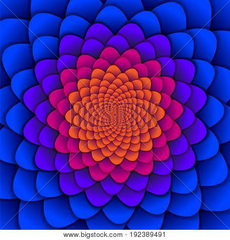 Abstract background. Spiral flower pattern in red and blue. Abstract Lotus Flower. Esoteric Mandala Symbol. vector illustration.