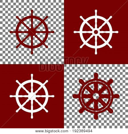 Ship wheel sign. Vector. Bordo and white icons and line icons on chess board with transparent background.