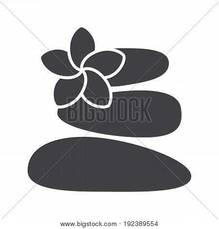 Stones for massage glyph icon. Silhouette symbol. Spa salon. Negative space. Vector isolated illustration