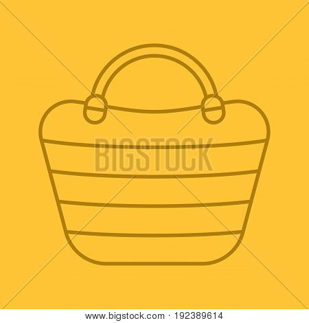 Beach bag color linear icon. Beach tote. Thin line contour symbols on color background. Vector illustration