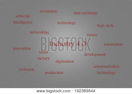 Illustration of Industry 4.0 gray background with red words