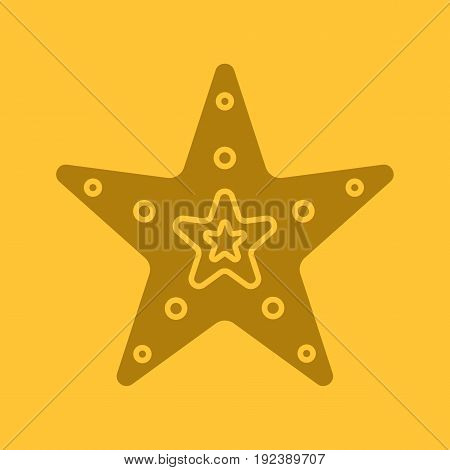 Sea star glyph color icon. Silhouette symbol. Negative space. Vector isolated illustration