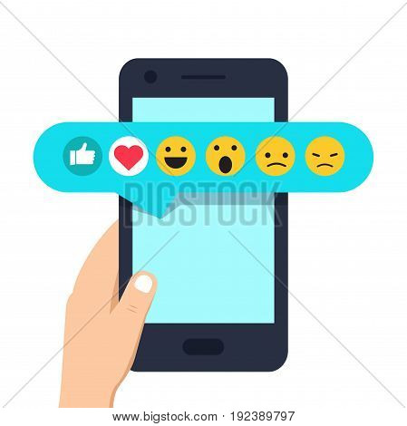 Human Hand Holding Mobile Phone With Social Network Feedback Emoticons : Thumbs Up, Like, Smile, Ang