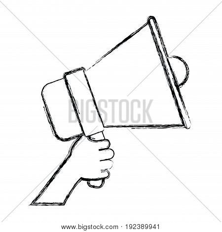monochrome blurred silhouette of hand holding sound device vector illustration