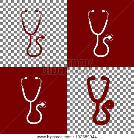 Stethoscope sign illustration. Vector. Bordo and white icons and line icons on chess board with transparent background.