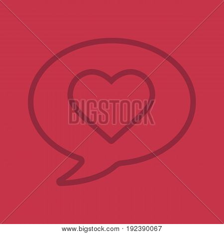 Romantic conversation color linear icon. Chat box with heart shape. Thin line contour symbols on color background. Vector illustration