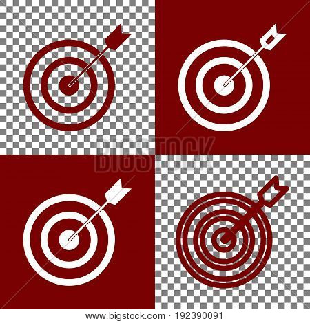 Target with dart. Vector. Bordo and white icons and line icons on chess board with transparent background.