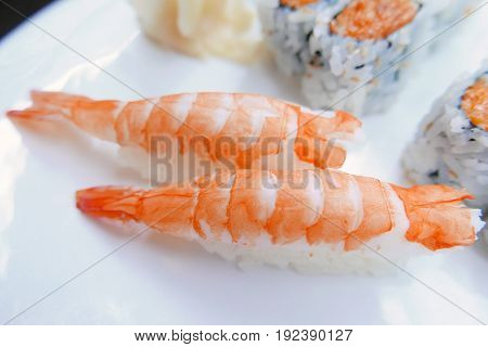 Two pieces of Fresh Shrimp Sushi on Plate