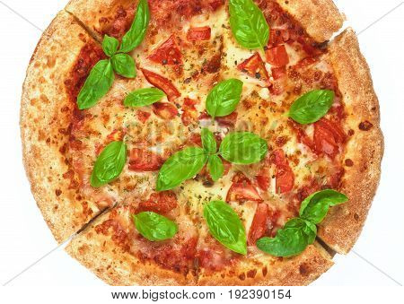 Homemade Freshly Baked Margherita Pizza with Tomatoes Cheese and Basil Leafs ross Section on White background. Top View