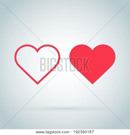 Heart Icon Vector. Outline and full hearts. Love symbol. Valentine's Day sign, emblem isolated on white background with shadow, Flat style for graphic and web design, logo. EPS10 pictogram