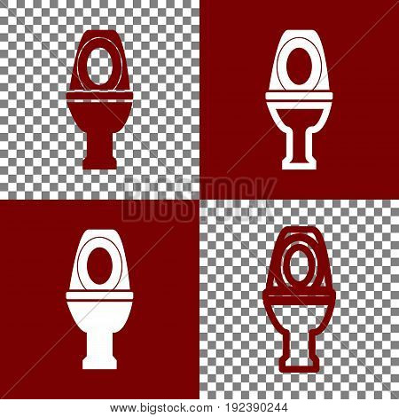 Toilet sign illustration. Vector. Bordo and white icons and line icons on chess board with transparent background.