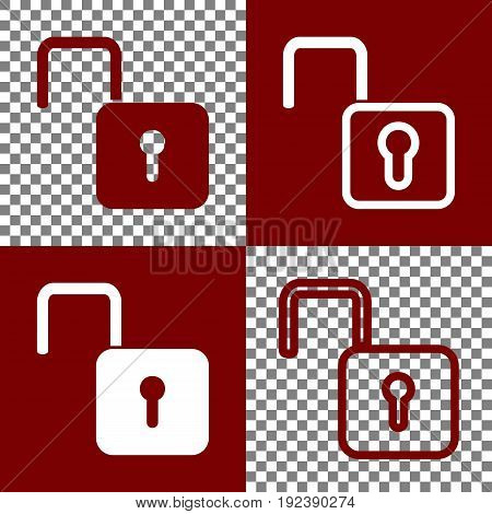 Unlock sign illustration. Vector. Bordo and white icons and line icons on chess board with transparent background.