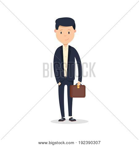 Smartly dressed businessman, smiling. A handsome young businessman holding his briefcase while standing. Vector illustration isolated on white background