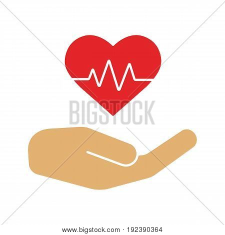 Heart care color icon. Human hand with heartbeat curve. Isolated vector illustration