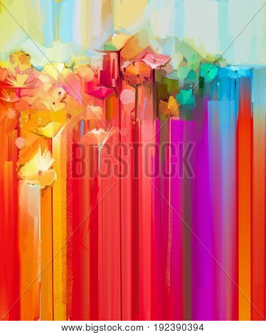 Abstract oil painting spring flower. Colorful yellow red gerbera flowers painting with yellow and red background. Hand Painted Impressionist paintings style. Spring Summer season nature background