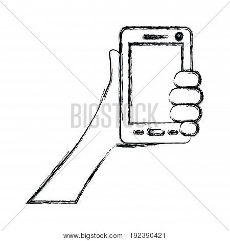 monochrome blurred silhouette of hand holding smartphone vector illustration