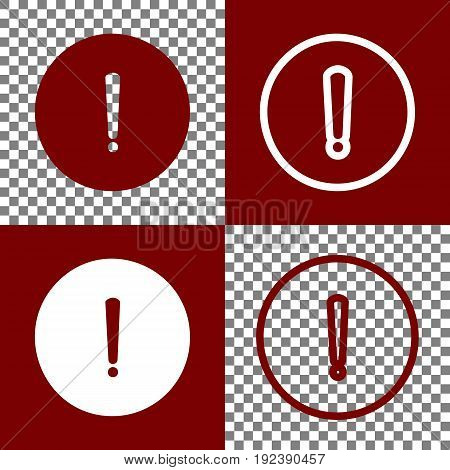 Exclamation mark sign. Vector. Bordo and white icons and line icons on chess board with transparent background.