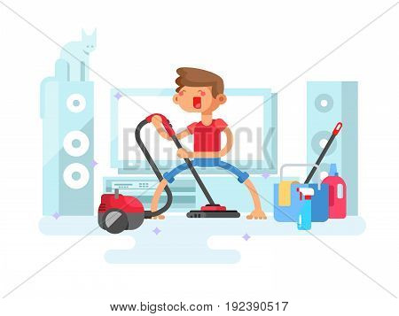 Boy cleaning house. Housework room, young cleaner, domestic cleaning, vector illustration