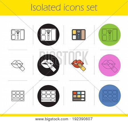 Women's cosmetics icons set. Linear, black and color styles. Eye shadow, blusher, lipstick with lips. Isolated vector illustrations