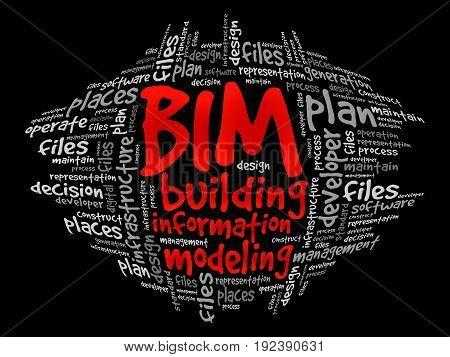 BIM - building information modeling word cloud business concept