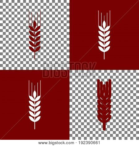 Wheat sign illustration. Spike. Spica. Vector. Bordo and white icons and line icons on chess board with transparent background.