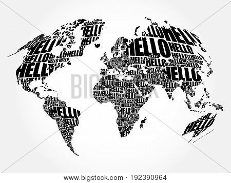 Hello Word Cloud World Map