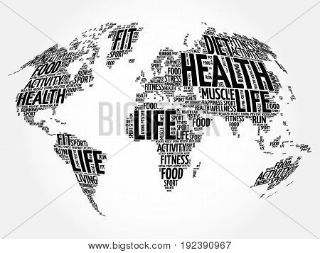 Health and Life World Map in Typography sport health fitness word cloud concept
