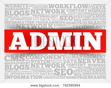 ADMIN word cloud collage, business concept background