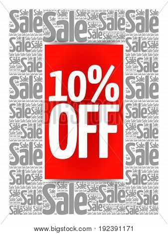 10% Off Sale Words Cloud