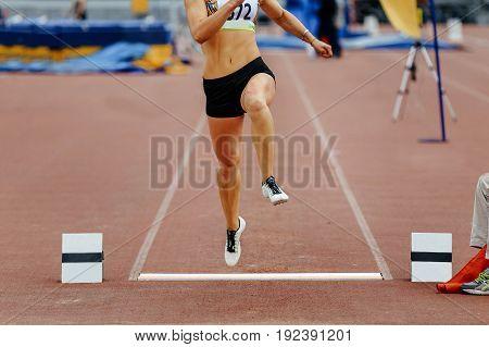 competition long jump takeoff board feet woman jumper