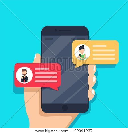 Chat messages notification on smartphone vector illustration, flat cartoon sms bubbles on mobile phone screen, man person chatting on cellphone with woman isolated poster