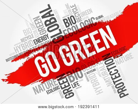 Go Green word cloud conceptual green ecology background