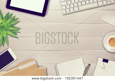 Table office white objects computer background view