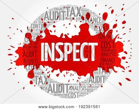 INSPECT word cloud collage, business concept background