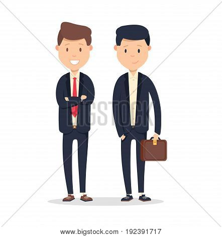 Business company partners. Two handsome men with smile isolated on white. Vector illustration