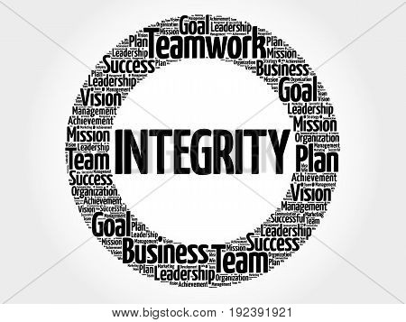 Integrity circle word cloud business concept background