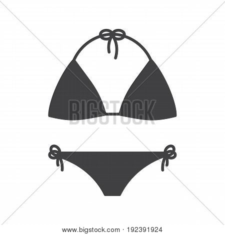 Swimsuit glyph icon. Silhouette symbol. Bikini swim suit. Negative space. Vector isolated illustration