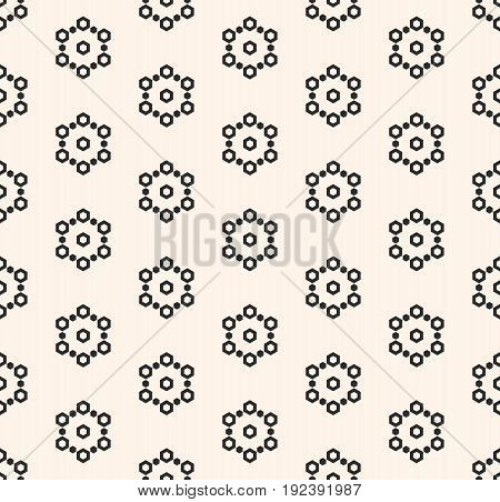 Seamless pattern. Monochrome subtle minimalist texture with simple geometrical shapes, hexagons geometric linear, snowflakes. Abstract endless background. Design for tileable, print, decoration. Digital pattern. Web pattern. Decor pattern.