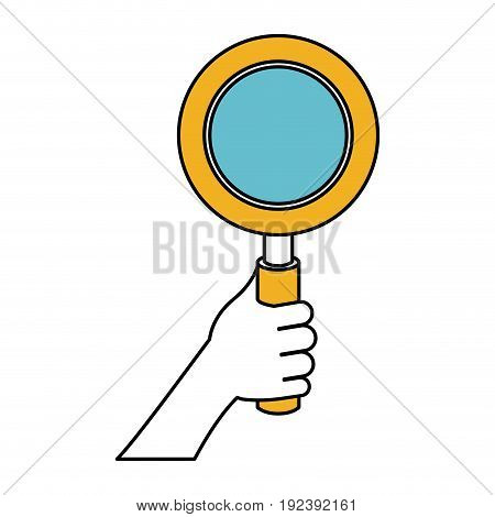 color sections silhouette of hand holding magnifying glass vector illustration