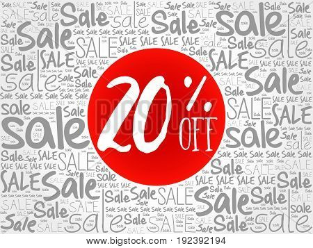 20% Off Sale Words Cloud