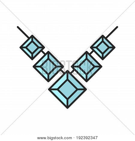 Gemstone necklace color icon. Isolated vector illustration