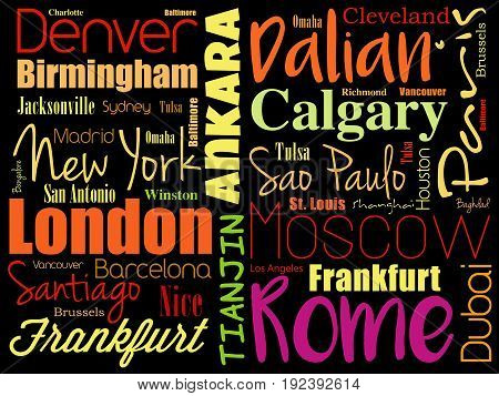 Cities In The World Word Cloud Collage