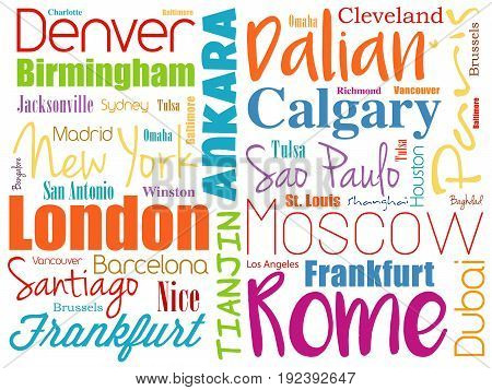 Cities in the world word cloud collage travel destinations concept background