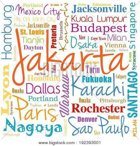 Cities In The World, Word Cloud Collage