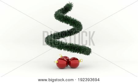 3d illustration green Christmas Tree with red Balls