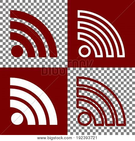 RSS sign illustration. Vector. Bordo and white icons and line icons on chess board with transparent background.