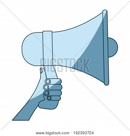 blue shading silhouette of hand holding megaphone vector illustration